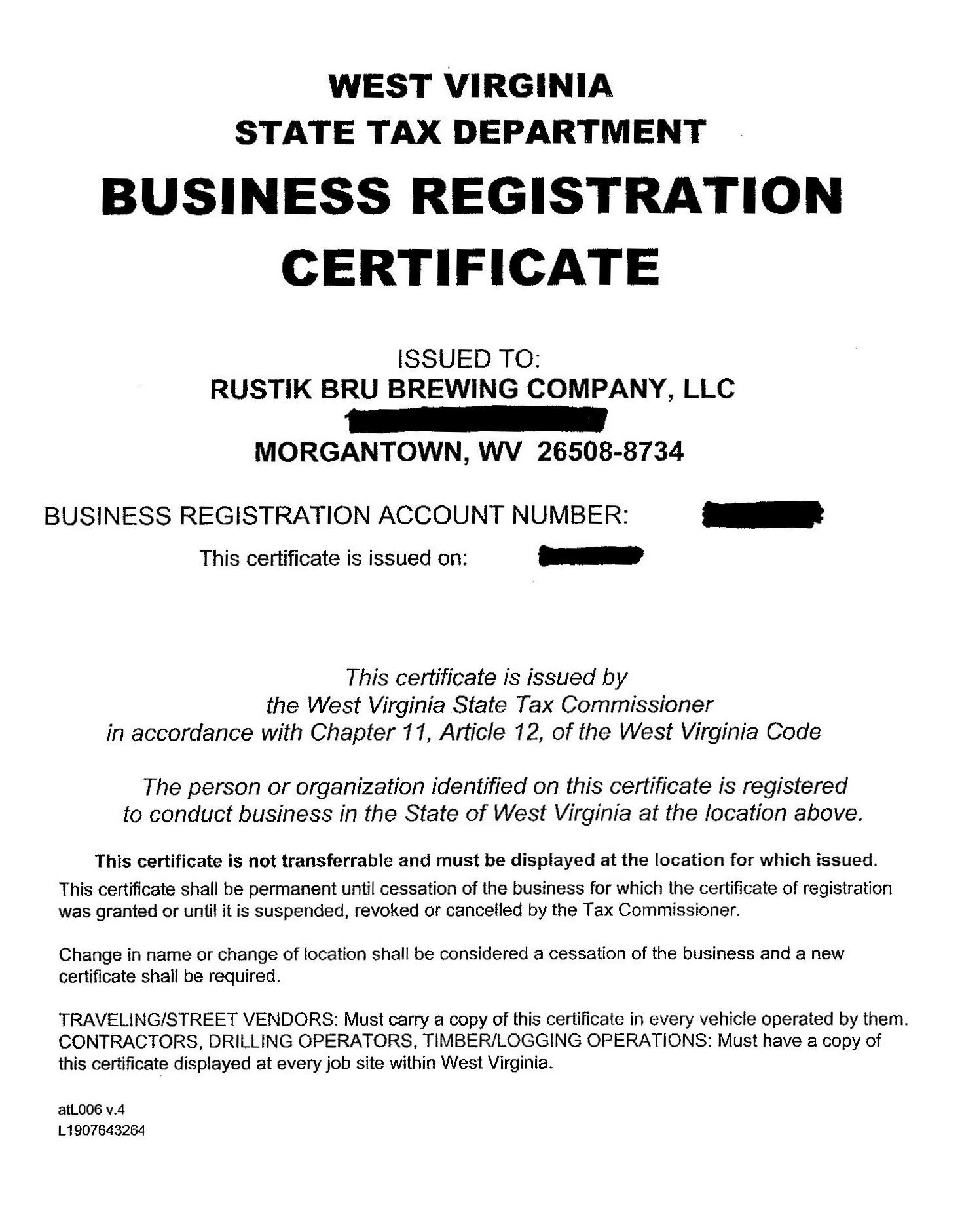 Business License and State Tax | Rustik Brü Blog – A Morgantown